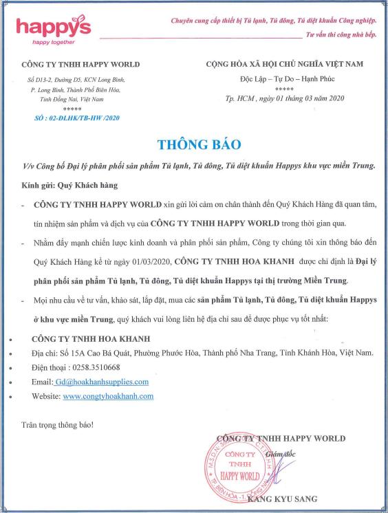 Giấy chứng nhận Hoa Khanh là đại lý phân phối sản phẩm Happys tại miền Trung